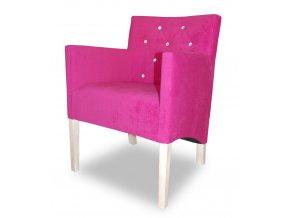 Moderní prošité křeslo se šikmým sedákem s kamínky, růžová látka, bílé nohy