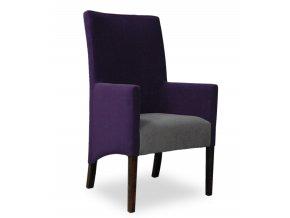 Moderní křeslo se šikmým sedákem, kombinace fialově-šedé