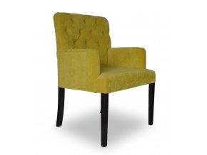 Luxusní prošité křeslo Throne II, žluté