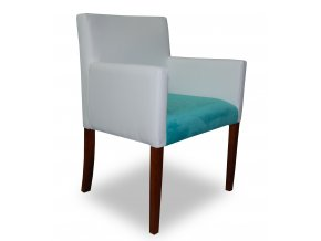 Designové křeslo se zeštíhleným sedákem, kombinované čalounění, bílo-tyrkysové