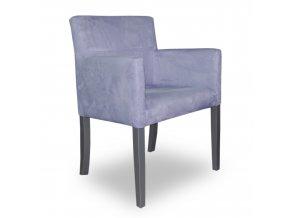 Designové křeslo se zeštíhleným sedákem, fialové, stříbrné nohy