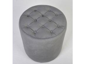 Malý prošívaný kulatý taburet, šedivý