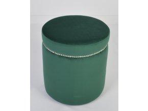 Moderní kulatý taburet s připínáčky, zelený