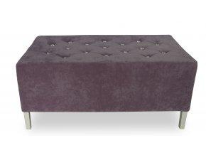 Luxusní dlouhý prošitý taburet s ozdobnými kamínky, velký