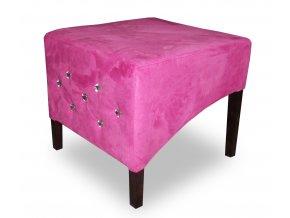 Moderní prošitý taburet se šikmým sedákem s ozdobnými kamínky