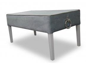 Designový dlouhý taburet s lemováním a klepadly