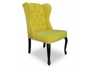 Luxusní prošitá židle Ears II, žlutá, barokní černé nohy