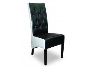 Moderní prošitá židle se šikmým sedákem, vysoká, kombinace koženek