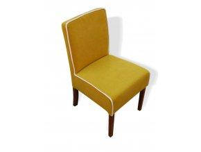 Moderní židle Comforta s bílým lemováním a zesíleným sedákem, nízká