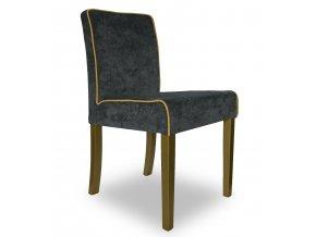 Designová židle Comforta s lemováním, šedá, zlaté nohy, vhodná do hotelových pokojů