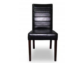 Designová prošitá židle se zeštíhleným sedákem, černá eko kůže