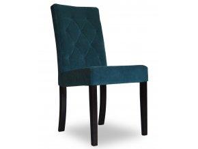 Designová prošitá židle se zeštíhleným sedákem, modrá, čalouněná, jídelní