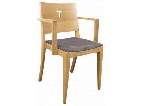 Dubová židle s područky do římskokatolických kostelů, far a prostorů | Ressed