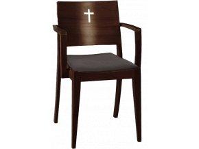 Tmavá stohovatelná židle do církevních prostorů s křížem | Ressed