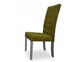Designová prošitá židle s knoflíky, olivová
