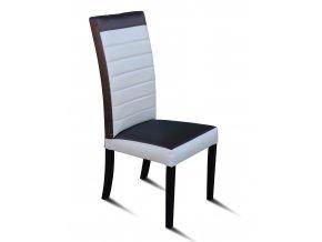 Designová prošitá židle se zeštíhleným sedákem, kombinace látek - černobílá