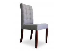 Designová prošitá židle se zeštíhleným sedákem, dřevěná, jídelní