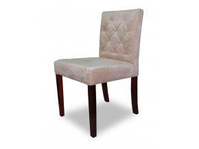 Designová prošitá židle se zeštíhleným sedákem, nízká, jídelní
