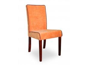 Designová židle Comforta s lemováním, čalouněná - oranžová omyvatelná