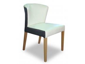 Designová židle Form se zeštíhleným sedákem, jídelní, šedo-bílá