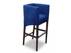 Designové barové křeslo se šikmým sedákem, modré