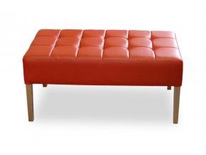 Designový prošitý dlouhý taburet, čalouněný oranžový