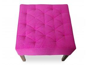 Designový prošitý taburet, růžový