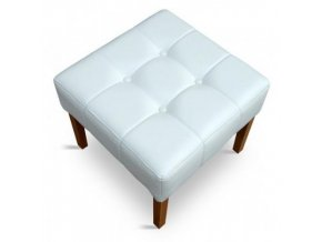 Designový prošitý taburet s knoflíky, bílá koženka