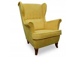 Luxusní křeslo Ušák, čalouněné žluté