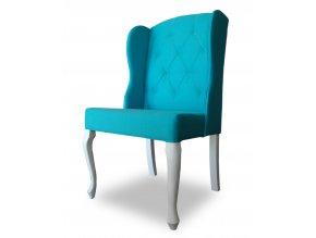 Luxusní prošitá židle Ears, tyrkysová