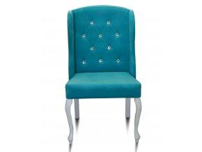 Luxusní prošitá židle Ears s kamínky, bílé barokní nohy