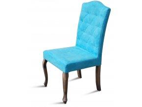 Luxusní prošitá židle Král Slunce, tyrkysové čalounění