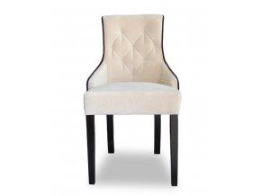 Luxusní prošitá židle Queen s lemováním, bílá látka