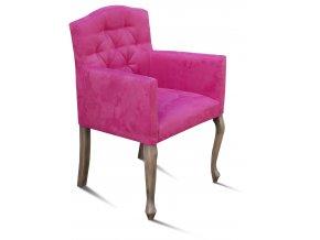Luxusní prošité křeslo Král Slunce, růžové polstrované