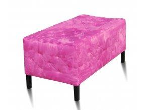 Luxusní prošitý dlouhý taburet, růžový