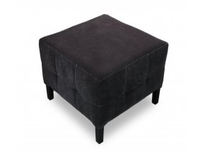 Luxusní prošitý taburet s plným sedákem, černý čalouněný