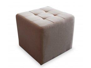 Luxusní prošitý taburet s plným sedákem, béžová kostka