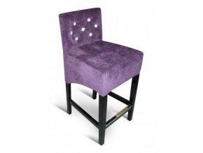 Moderní barová židle prošitá kamínky, fialová