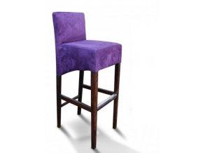 Moderní barová židle se šikmým sedákem, fialová semišová