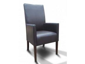 Moderní křeslo se zesíleným sedákem, vysoké koženkové