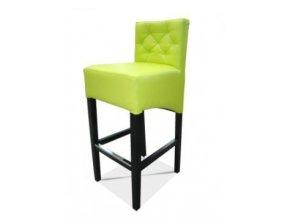 Moderní prošitá barová židle, zelinkavá koženka