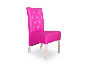 Moderní prošitá židle s kamínky, jídelní, růžová, šikmý sedák