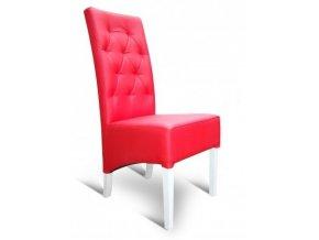 Moderní prošitá židle se šikmým sedákem, červená koženka