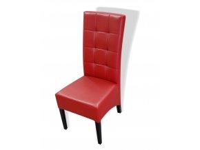 Moderní prošitá židle se šikmým sedákem, tmavě červená koženka