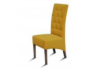 Moderní prošitá židle se šikmým sedákem, žlutá