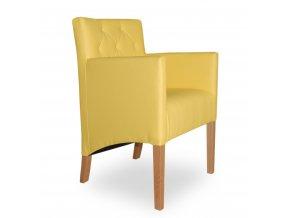 Moderní prošité křeslo se šikmým sedákem, žluté