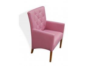 Moderní prošité křeslo se šikmým sedákem, růžové, koženkové
