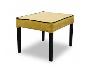 Moderní taburet s lemováním, žlutý