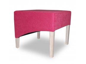 Moderní taburet se šikmým sedákem, růžový