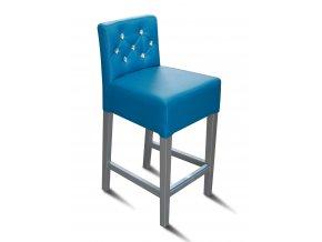 Pohodlná barová židle prošitá kamínky, modrá koženka, bílé nohy